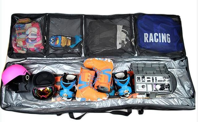 fb6e3c966f3 165Cm with 3 wheels Snowboard Bag Large capacity   very wide   Drag Skis Bag  Pulley