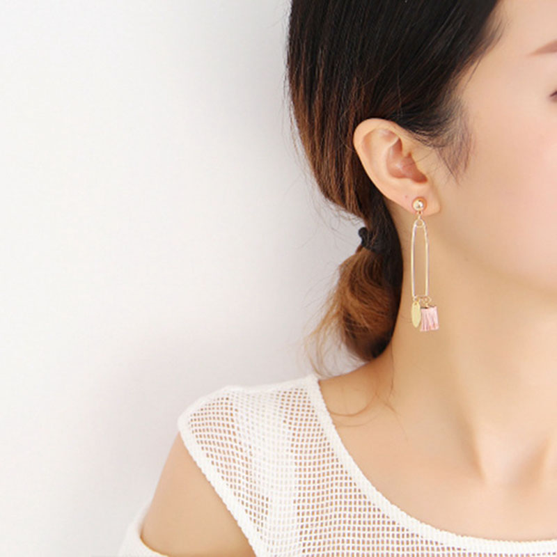 H:HYDE Gold Color Sweety Lovely Colorful tassels asymmetrical long exaggerated pins star studs Earrings For Women Korean Brincos