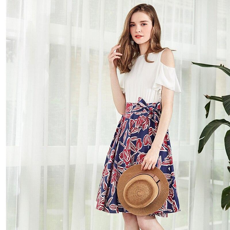 ARTKA Women Dress For Summer 2019 New Off the Shoulder Short Sleeve Printing Floral Dress Cotton