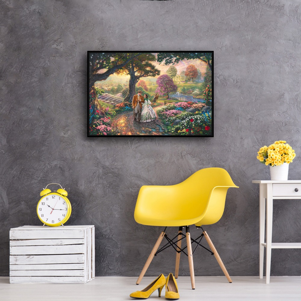 H1167 Thomas Kinkade Gone With The Wind, HD Canvas Print Home Decoration  Living Room Bedroom Wall Pictures Art Painting In Painting U0026 Calligraphy  From Home ...