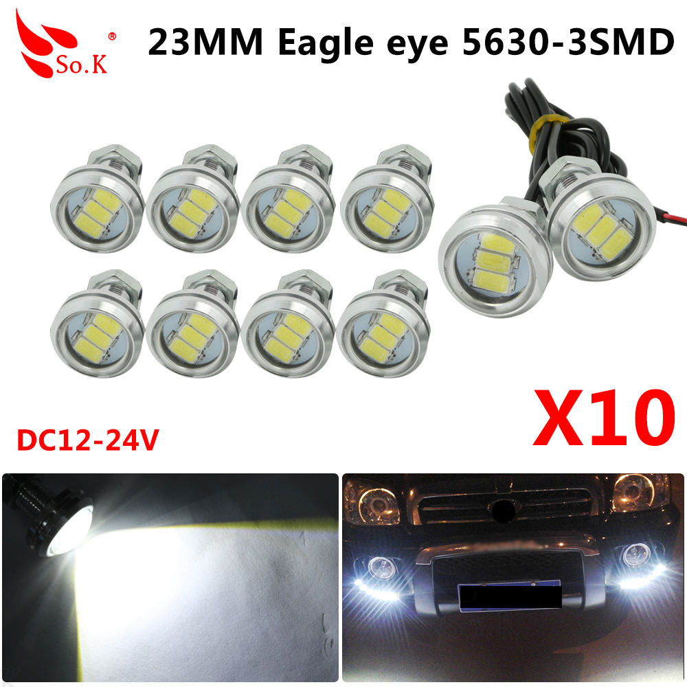 10pcs 23mm Eagle Eye 5630 3 SMD DRL LED Luces de circulación diurna para automóvil 12V Blanco Impermeable Lámpara antiniebla automática Luz de día Luces de estacionamiento