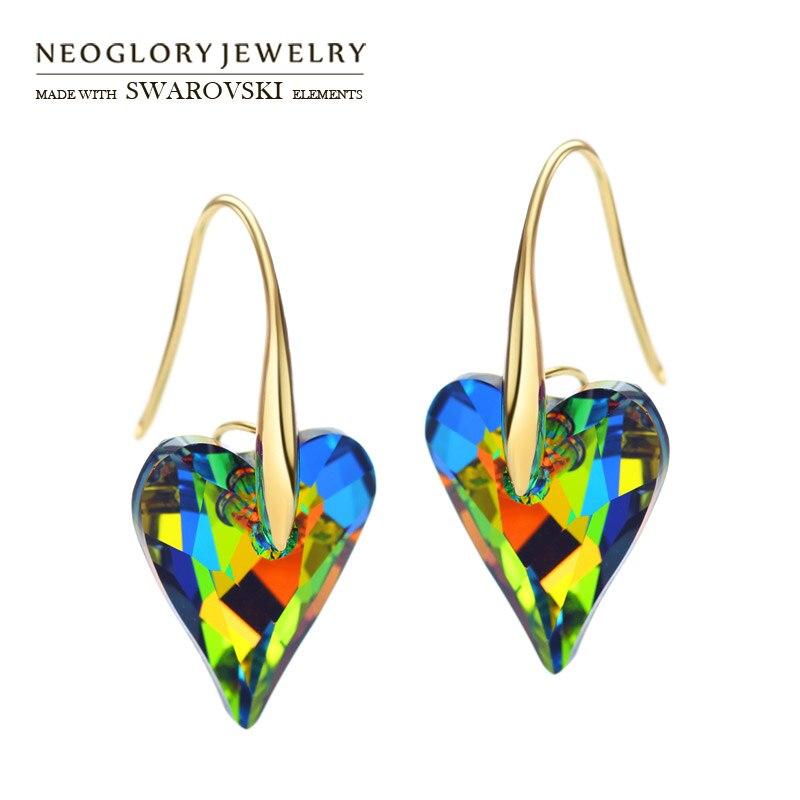 Neoglory MADE MIT SWAROVSKI ELEMENTE Kristall Lange Baumeln Ohrringe Gemischte Farbe Große Liebe Herz Stil Romantischen Urlaub Geschenk Täglichen