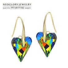 Neoglory Сделано с элементами Swarovski Crystal Длинные висячие серьги светло-желтого золота Цвет элегантный сердце любовь Стиль романтический