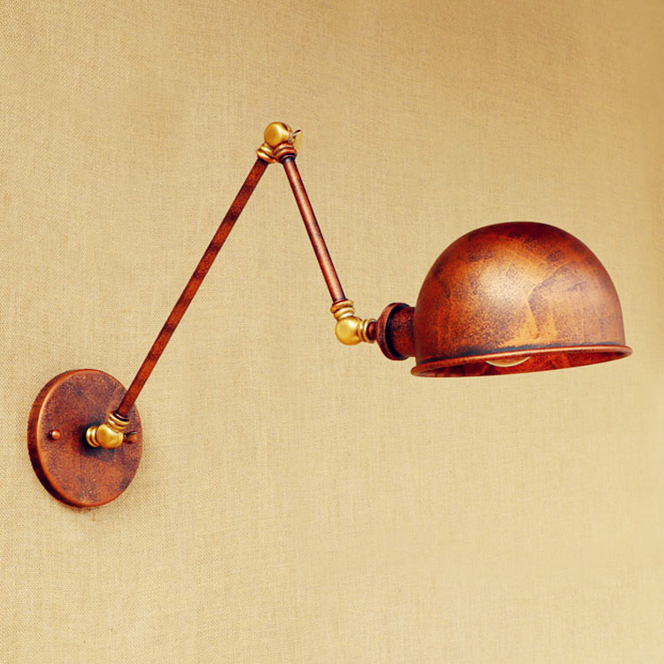 brass antique loft vintage wall light glass swing long arm. Black Bedroom Furniture Sets. Home Design Ideas