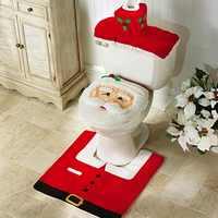 2/3 pçs natal santa tampa de assento do toalete antiderrapante tapete do banheiro toliet decoração de natal para casa tapete de ano novo