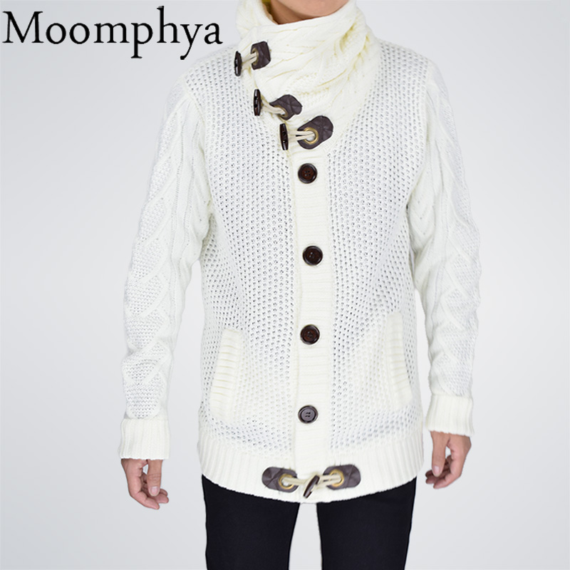 Moomphya Hip-Hop Hoodie Sweat Streetwear with Horn-Button Homme White