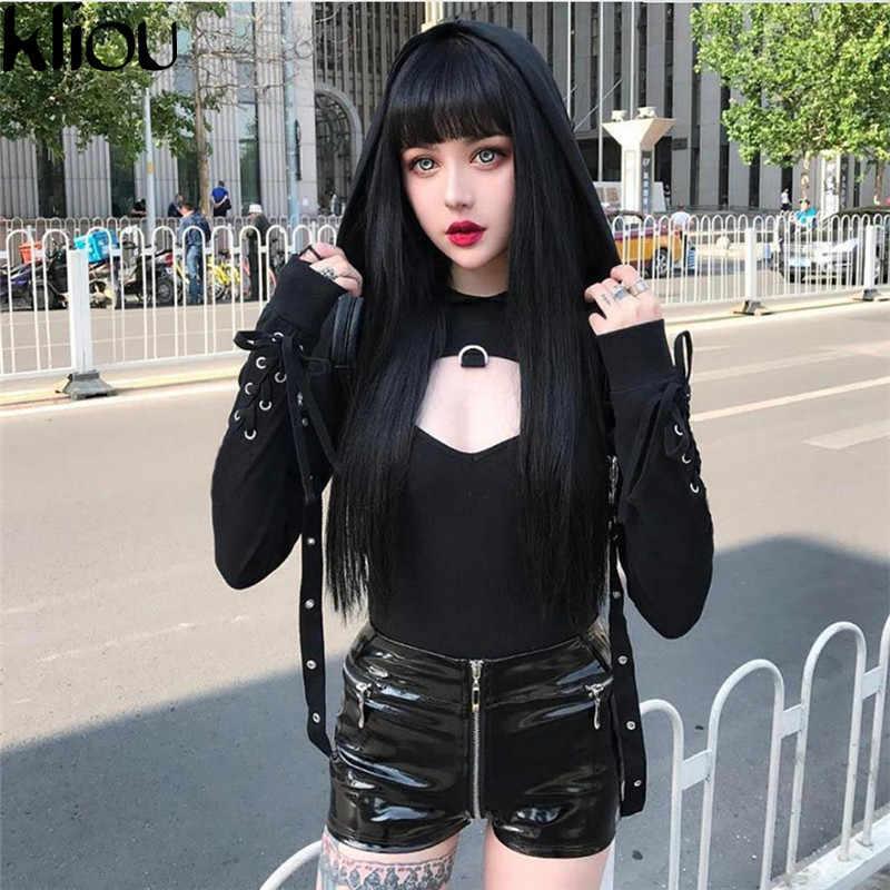 Kliou Nieuwe Mode Straat Vrouwen Hooded 2018 Herfst Solid Black Terug Bandage Truien Volledige Mouw Vrouwelijke Hooded Korte Sweatshirts