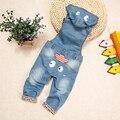 Alta Qualidade 10 m-4 T Bebê Calça Jeans Macacão Calças Compridas Com Capuz Macacão de Criança Das Meninas Dos Meninos Calças De Brim Macacão Crianças roupa bebe Roupas