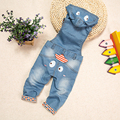High Quality 10m-4T Baby Jeans Overalls Long Pants Hooded Rompers Toddler Girls Boys Jeans Jumpsuit Kids clothes bebe Clothing
