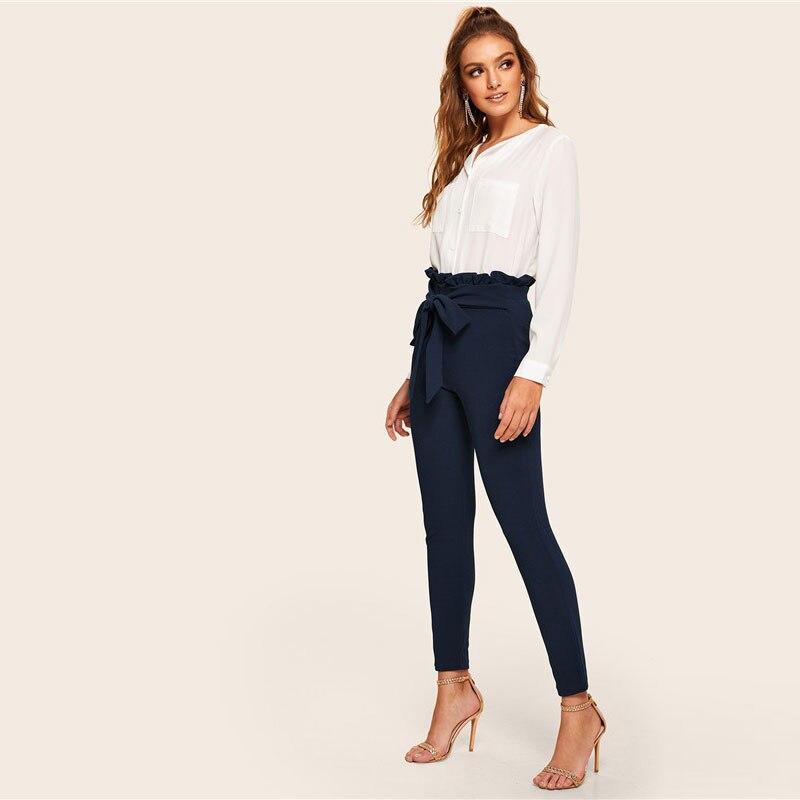 SHEIN Elegant Paperbag Waist Belted Detail Solid High Waist Pants Women Skinny Frill Trim Elastic Waist Spring Summer Pants 12