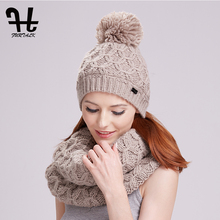 Furtalk winter women knitted hat and scarf set raccoon fur pom pom beanie hat scarves for girls