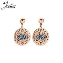 Joolim Vintage Gold Big Round Eyes Drop Earring Retro Statement Party