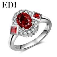 EDIผู้หญิงแท้1.75ctหินธรรมชาติโกเมน925