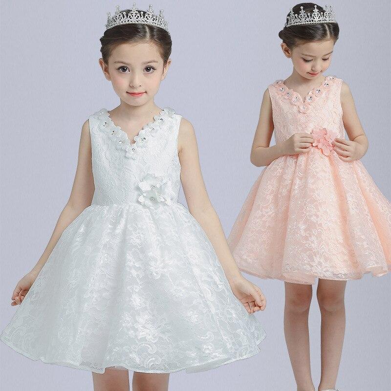 Summer Sleeveless Forla Dress for Girl Graduation Ball Korean Version New Princess Knee Length Baptism Party Dresses Kids Cloth 4pcs new for ball uff bes m18mg noc80b s04g