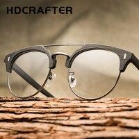 HDCRAFTER Ziarna Drewna Okulary Optyczne Projektowania Mody Okrągłe Ramki Mężczyzn Krótkowzroczność ROCZNIKA Okulary Oculos De Grau Feminino Gafas