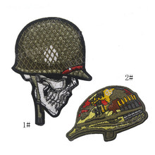 3D Embroidery Badge Soldier Patch Human Head Helmet Tactical Hook Circle Battle Armband Morale Skull Pattern Army