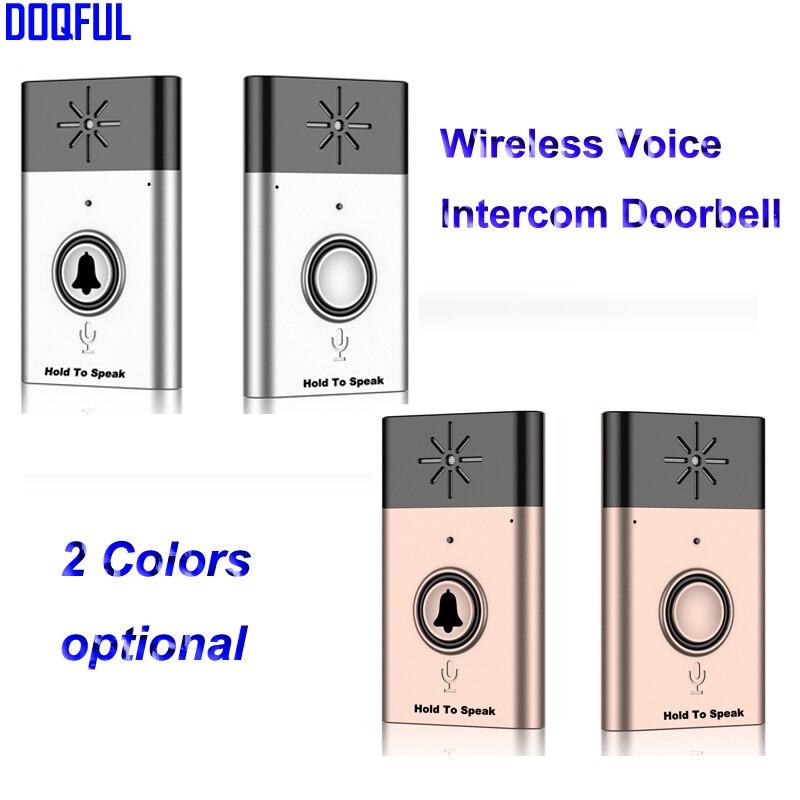 Wireless Voice Intercom Doorbell Chime Door Bell Remote Control Door Bell Indoor And Outdoor Bell Gold and Silver Optional ks v2 welcom chime bell sensor