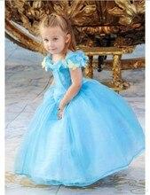Attractive Blue Cap Sleeve Princess Dress Appliqued Flowers Ball Gown Flower Girl Dress Short Sleeve Beads Wedding Party Vestido