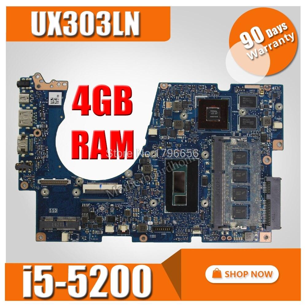UX303LN motherboard with i5-5200 CPU 4G RAM for ASUS UX303LB UX303LNB UX303LN UX303L U303L Laptop mainboard UX303L Motherboard for asus x75vd x75v x75vc x75vb x75vd x75vd1 r704v motherboard x75vd rev3 1 mainboard i3 2350 gt610 1g ram 4g memory 100
