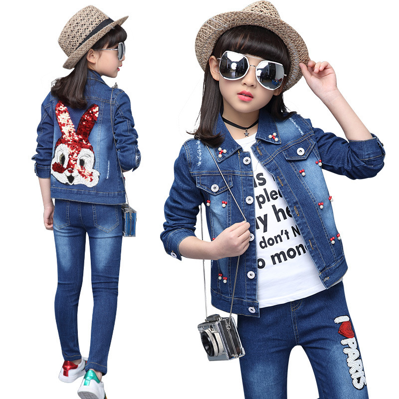ФОТО Spring girl cowboy suit 2017 new female Maria Tung Korean Beaded sequined cowboy cartoon rabbit two piece suit for children