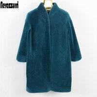 Nerazzurri пальто с натуральным мехом Женская куртка из овечьей шерсти среднего размера 5xl 6xl 7xl теплая овечья шерсть натуральный мех шуба женска...