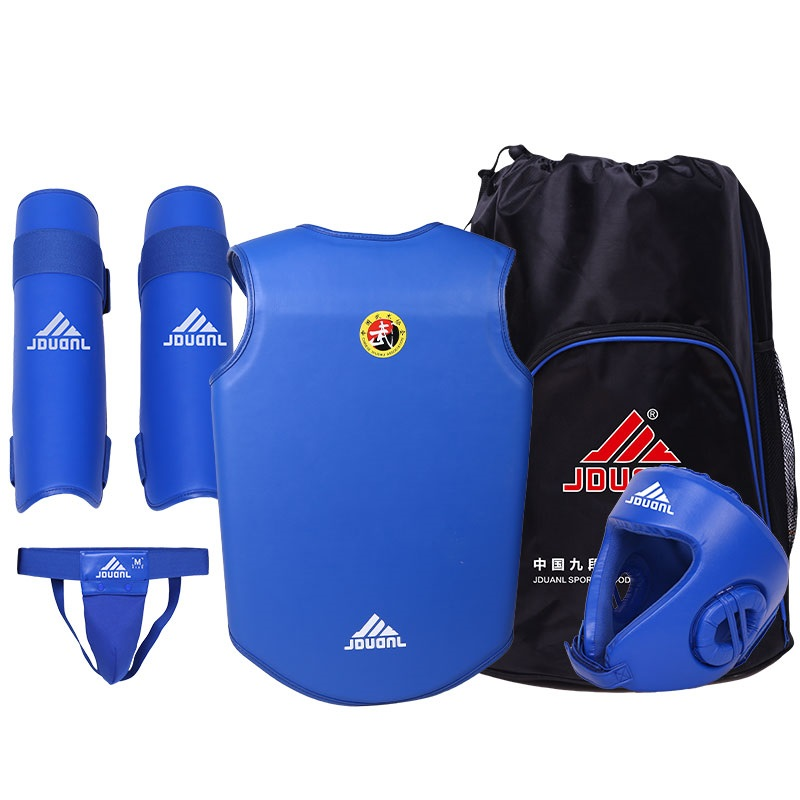 Free Combat Protection Set includes Helmet Jacket Jockstrap Shin Pad for Taekwondo Karate Thai Boxing Martial Art 57 38 15cm curved taekwondo back kick pad target kickboxing mma punching foot pads karate targets muay thai focus punch padded