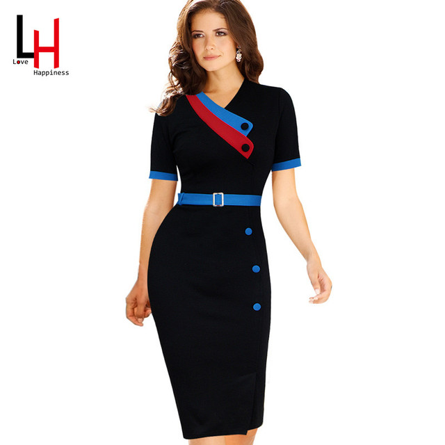 Autumn Women Office Dress Short Sleeve Button Front Patchwork Plus ...