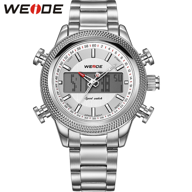 WEIDE Popular Brand Fashion Silver Stainless Steel Watch Men Casual Clock Dual Time Analog Quartz Sports Military Wrist Watch