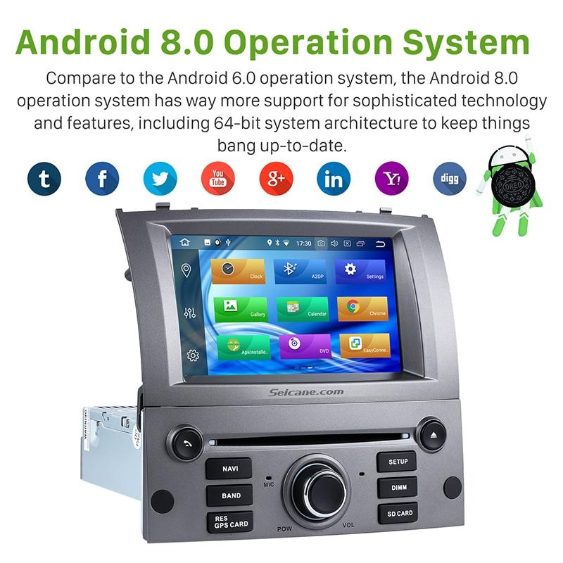 Seicane 1 Din 7 pouces Android 8.0 autoradio système de Navigation GPS lecteur multimédia pour 2004-2010 Peugeot 407 avec FM Bluetooth - 2