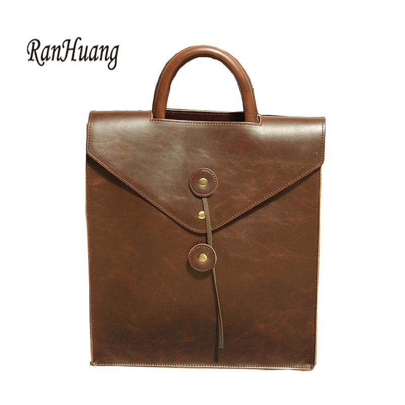 Glorious Ranhuang New 2019 Men Vintage Backpack Envelope Designer Backpack High Quality Pu Leather Backpack Black And Brown Bag A762 Latest Technology Luggage & Bags Men's Bags