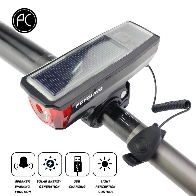 PCycling Vélo Lumière Solaire Vélo Électrique Lumière Étanche 350 Lumen Vélo Cloche Lumière LED USB Rechargeable Lampe Avant Phares