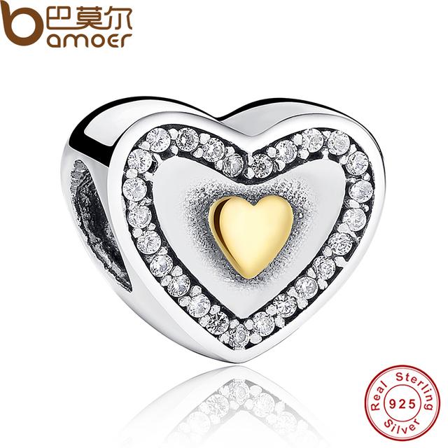 Espumante 925-sterling-silver Amarelo Banhado A Ouro Sempre Em Meu Coração Charme Fit Pulseira Two-Tone BME Fazer Jóias