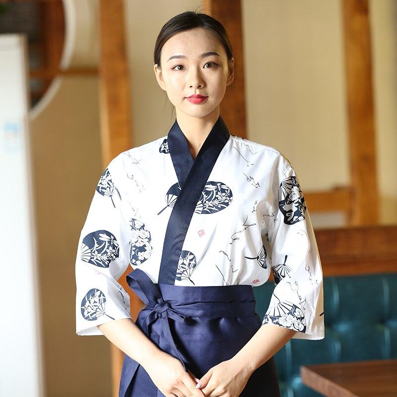 2020 Women Japanese Korea Style Medium Sleeve Chef Cook Uniform Waiter Work Wear Restaurant Cook Top