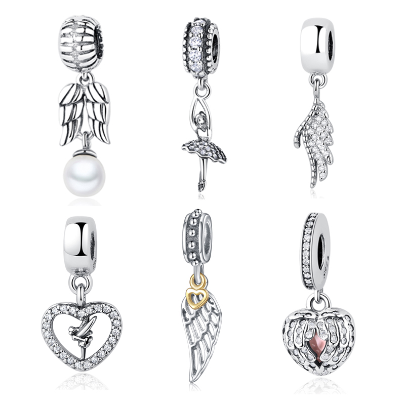 Beads Sterling Silver Charms Pendant Rose Gold Angel Wings Pendants For Original Pandora 925 Sterling Silver Bracelets Bangles Xcy234