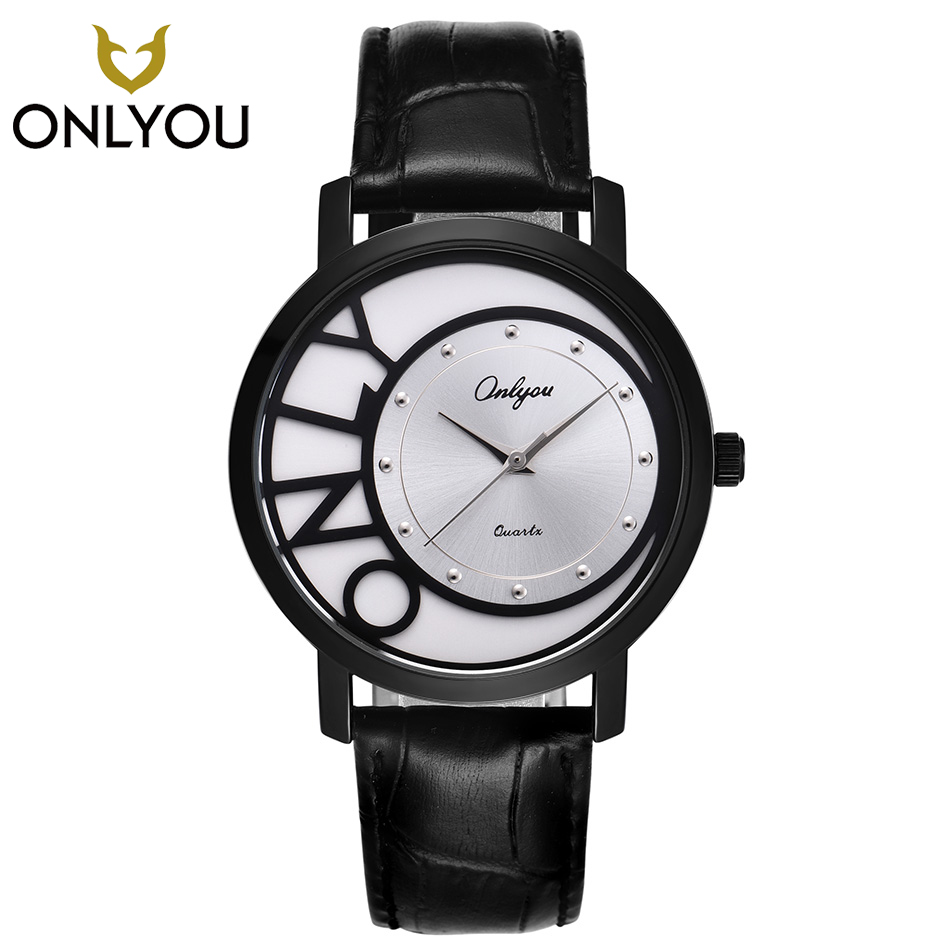 ONLYOU Top Band Luxury Men Black Quartz Wristwatch Male New Lover Watches Creative Women Fashion Diamond Clock Couple Gift fashion new personality black and white dial lover s quartz watch women top brand couple pu leather wristwatch reloj male clock