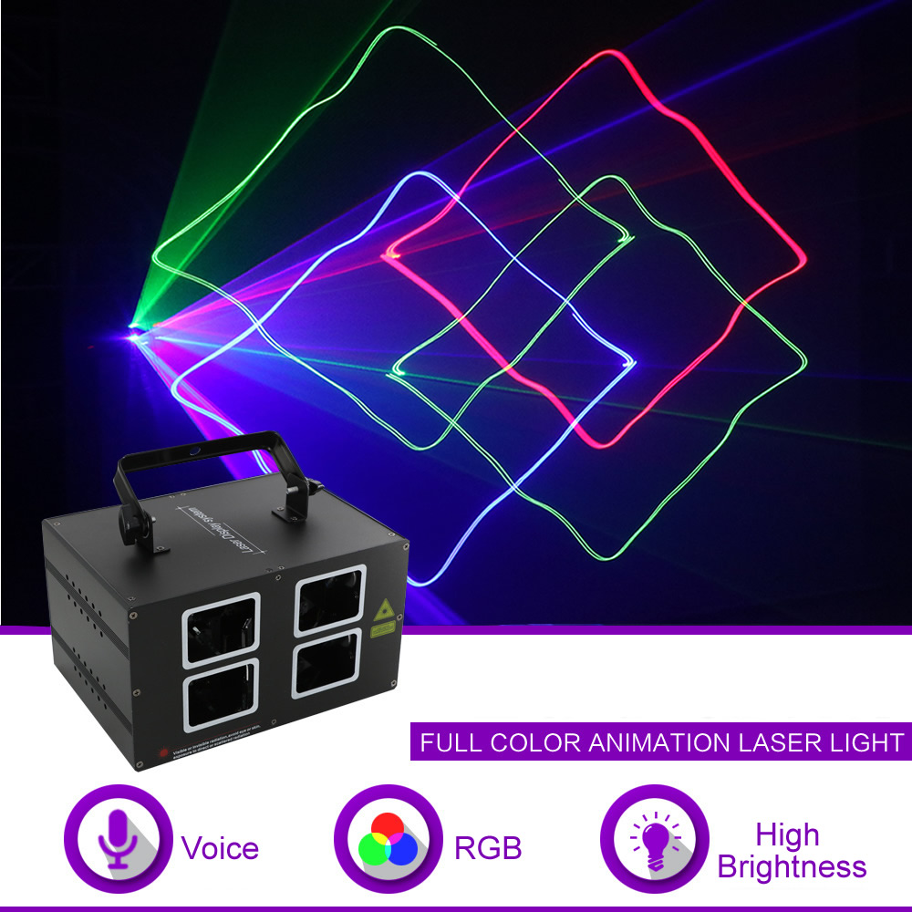 Işıklar ve Aydınlatma'ten Sahne Aydınlatması Efekti'de Sharelife Çift Kafa RGB Tam Renkli Tarama Işını Desen DMX Lazer Işığı Ev Konser Parti DJ Sahne Aydınlatma Ses Otomatik 4L title=