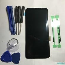 Orijinal süper AMOLED Samsung Galaxy S8 S8 artı G950f G950 G955 G955F kusur Lcd ekran dokunmatik ekran Digitizer ile çerçeve