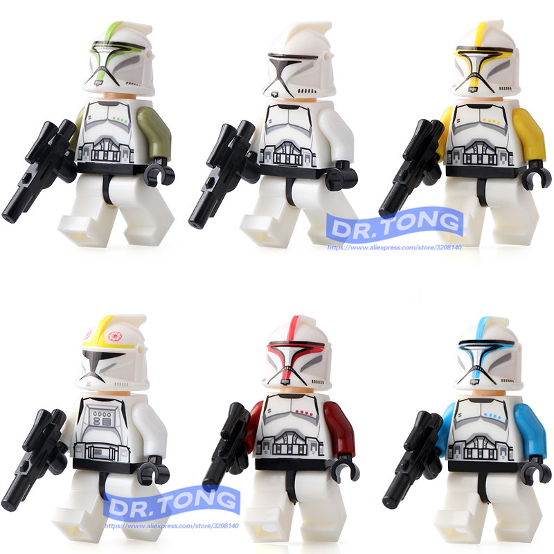 DR.TONG 6pcs/lot Star Wars Clone Troopers Blue Soldiers White Soldiers Building Blocks Bricks Diy Toys Children Gifts