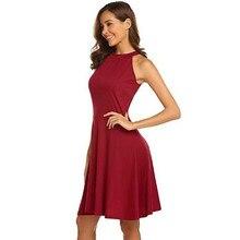 Women Casual Dress Summer Vintage Red O-neck Sleeveless Slim A-line Dress White/Black/Gray цена