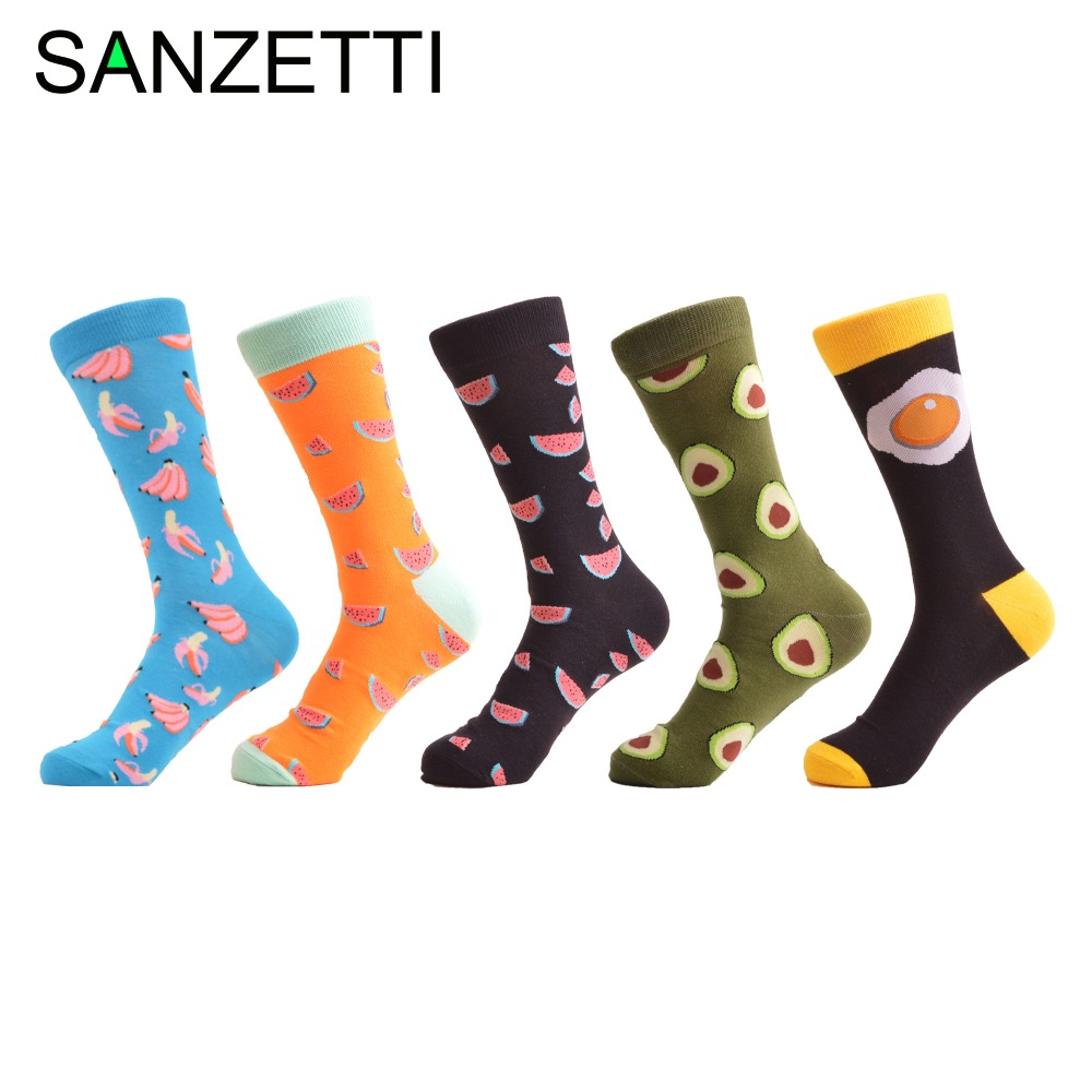 SANZETTI 5 pair/lot Mens Fashion Colorful Combed Cotton Sock Novelty Avocado Egg Pattern Casual Funny Socks Gifts for Christmas