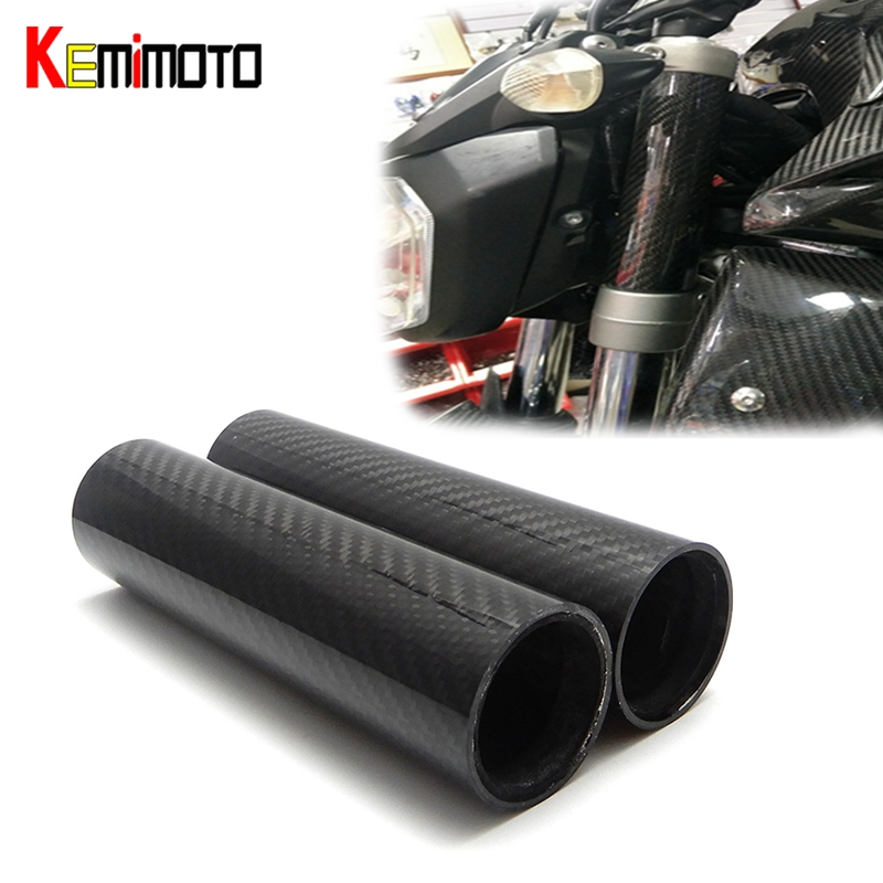 KEMiMOTO For YAMAHA MT07 MT-07 FZ-07 accessories Real Carbon Fiber Front Fork Tube Slider Cover MT07 2014 2015 2016 2017 for yamaha mt 07 fz 07 mt07 fz07 rear seat cover cowl painted abs plastic for yamaha mt 07 fz 07 mt07 2014 2015 2016 new arrival