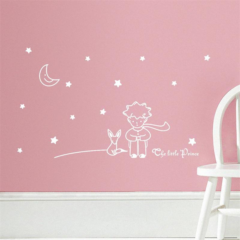 HTB16nv MpXXXXc2XVXXq6xXFXXXX - popular book fairy tale the Little Prince With Fox Moon Star wall sticker for kids room