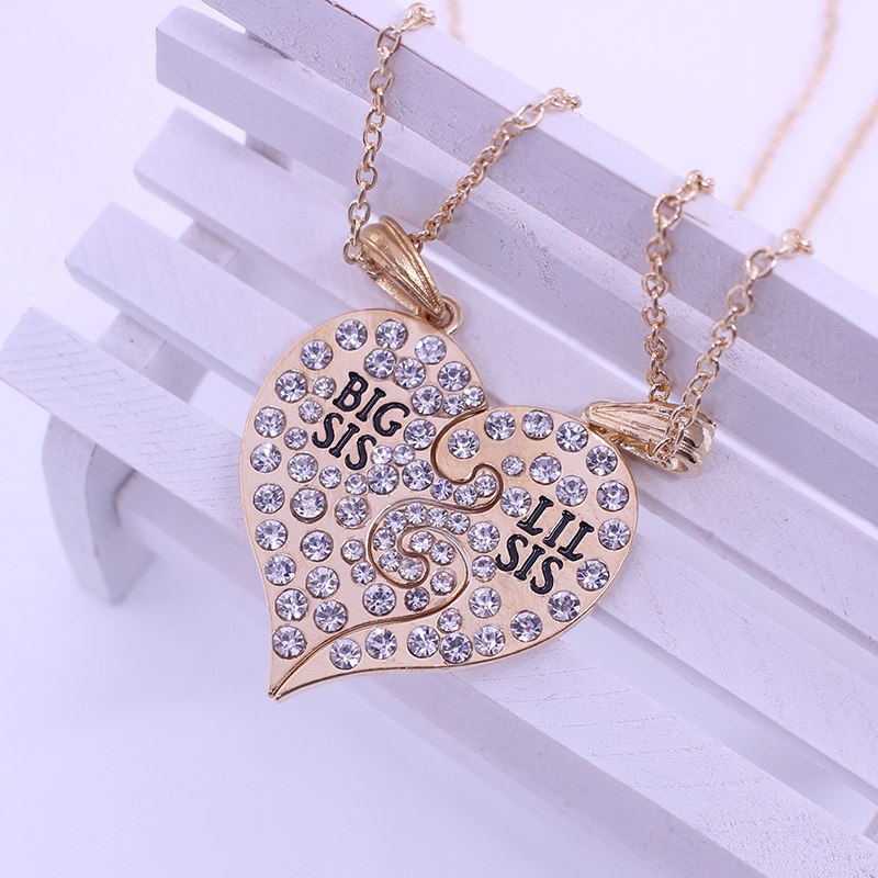 Big Sis Lil Sister Little Best Friends Forever  Broken Heart Necklace Rhinestone Pendants Gift 2PC/Set