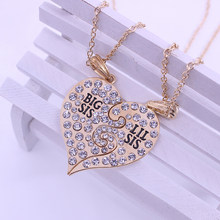 "2019 2 Pcs/Set Crystal Letter ""Big Little Sister"" Necklace For Sisters Best Friends Forever Gold Silver Charm New Jewelry Gifts(China)"