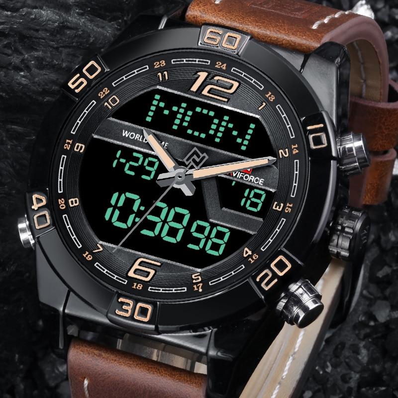 купить NAVIFORCE Luxury Men WatchBrand Fashion Sports Watches Men's Waterproof Quartz Date Clock Man Leather Army Military Wrist Watch онлайн