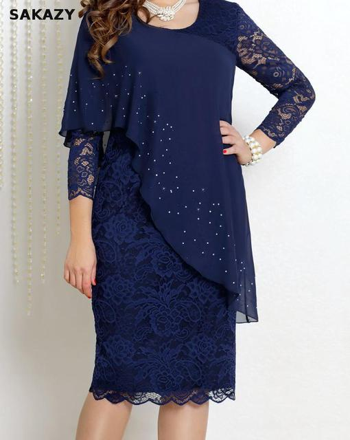 Large Size Dress Summer Solid Color Lace Dress Female Elegant 3/4 Sleeve Slim Party Chiffon Plus Size Dress Women Vestidos 5xl 4