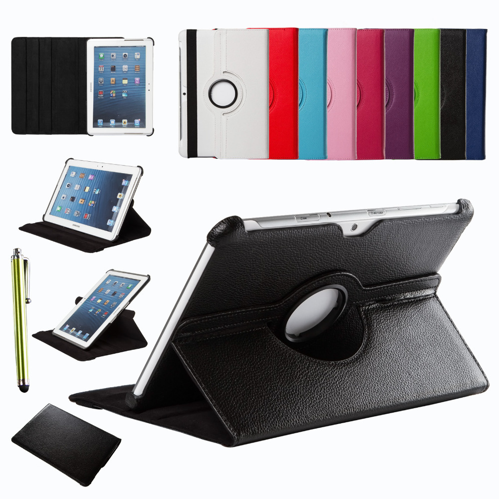 For Samsung Galaxy Tab 2 10.1 inch P5100 P5110 P7500 P7510 360 Rotating Smart Cover PU Leather Case Screen Protector Stylus Pen