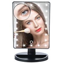 LED Touch Screen Makeup Mirror 10X Magnifying Professional Vanity Mirror With 22 LED Lights Health Beauty Adjustable Countertop