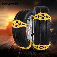 Vehemo Snow Tire Belt Snow Chain Anti Skid Chains Yellow TPU Thickened Emergency Mud Wheel Easy