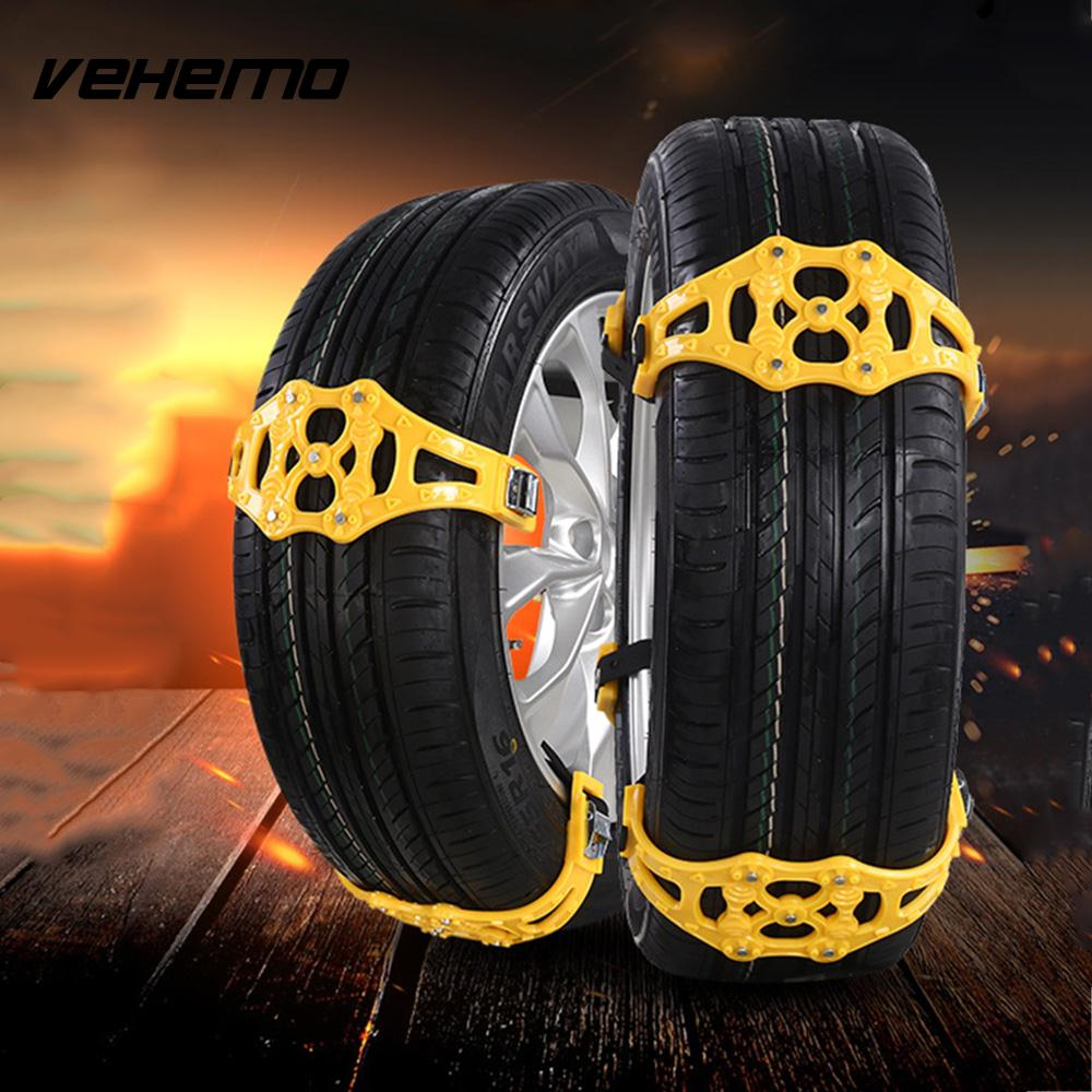 Vehemo Snow Tire Belt Snow Chain Anti-Skid Chains Yellow TPU Thickened Emergency Mud Wheel Easy Installation Roadway Safety